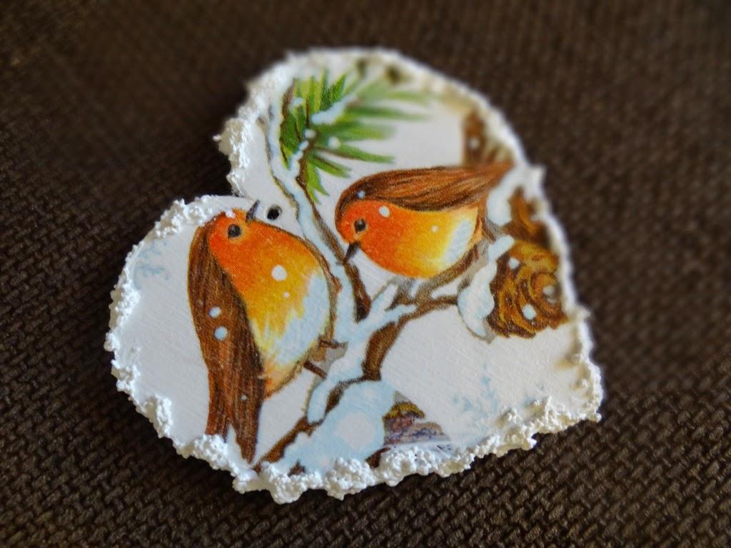 zawieszka, serce z ptaszkami i śniegiem, Boże Narodzenie, zima, dekoracje