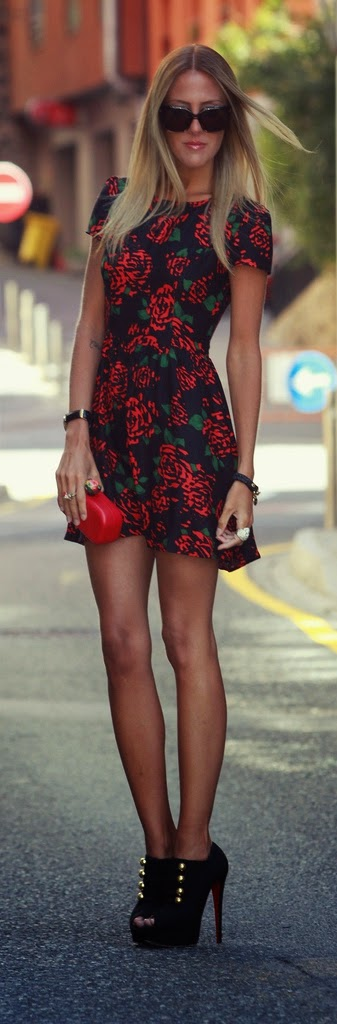 Motel Printed Cap Sleeve Dress with High Heel Booties | Street Chic