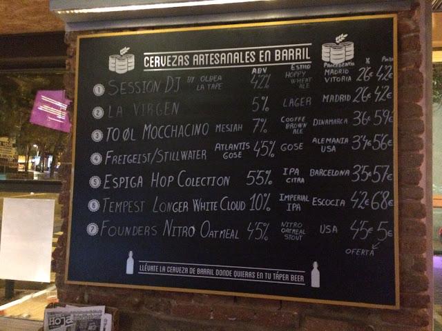 Cervezas artesanales de barril, La Tape. Tusolovive Madrid.