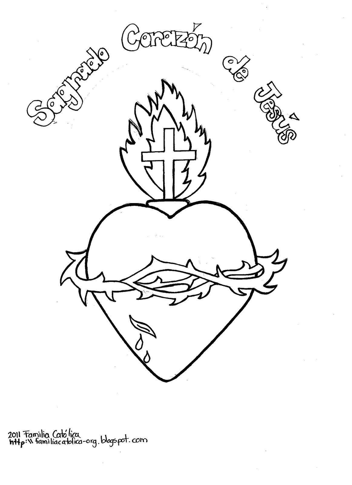 Familia Católica: Sagrado Corazón de Jesús para Colorear