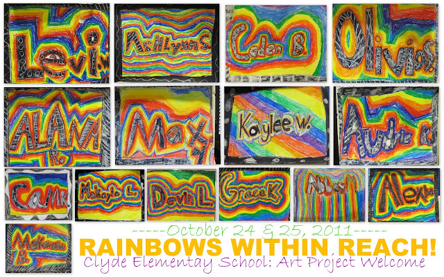 photo of: Student First Names Become Art Project with Rainbow Design (from RoundUP of 'name' projects via RainbowsWithinReach)