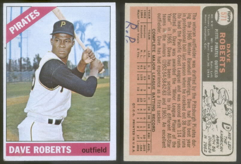 Dave Roberts 1966 baswball card