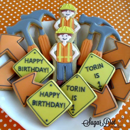 construction birthday cookies
