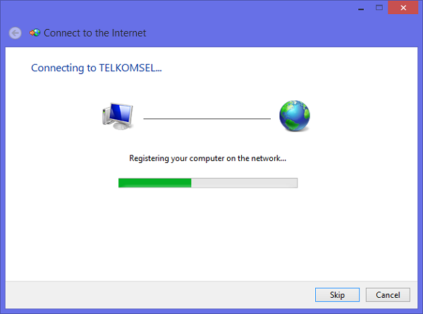 Connecting to Telkomsel internet WIndows 8.1