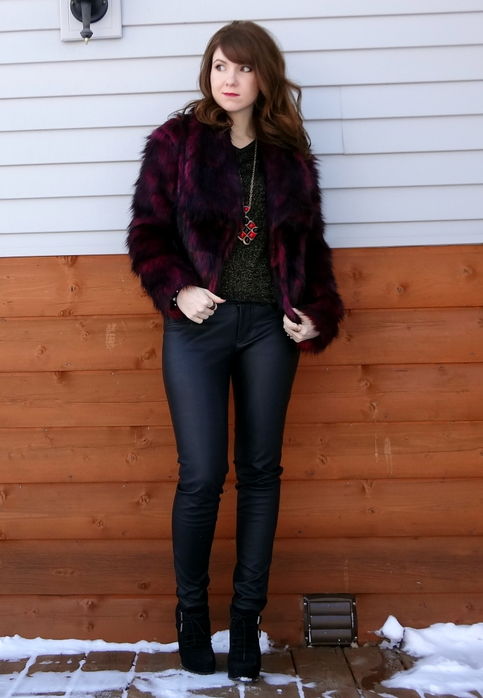 faux fur faux leather edgy winter soft goth baroque trendy 2012 outfit idea