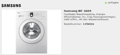 Frontlader-Waschmaschine Samsung WF-6604 bei ProMarkt.de für 299 Euro inklusive Versandkosten