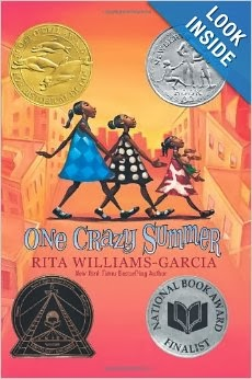 http://www.amazon.com/One-Crazy-Summer-Rita-Williams-Garcia-ebook/dp/B00338QF4Q/ref=sr_1_1?s=books&ie=UTF8&qid=1389941009&sr=1-1&keywords=one+crazy+summer+by+rita+williams-garcia
