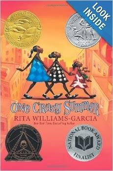 http://www.amazon.com/One-Crazy-Summer-Rita-Williams-Garcia-ebook/dp/B00338QF4Q/ref=sr_1_1?s=books&ie=UTF8&qid=1389941009&sr=1-1&keywords=one+crazy+summer+by+rita+williams-garcia