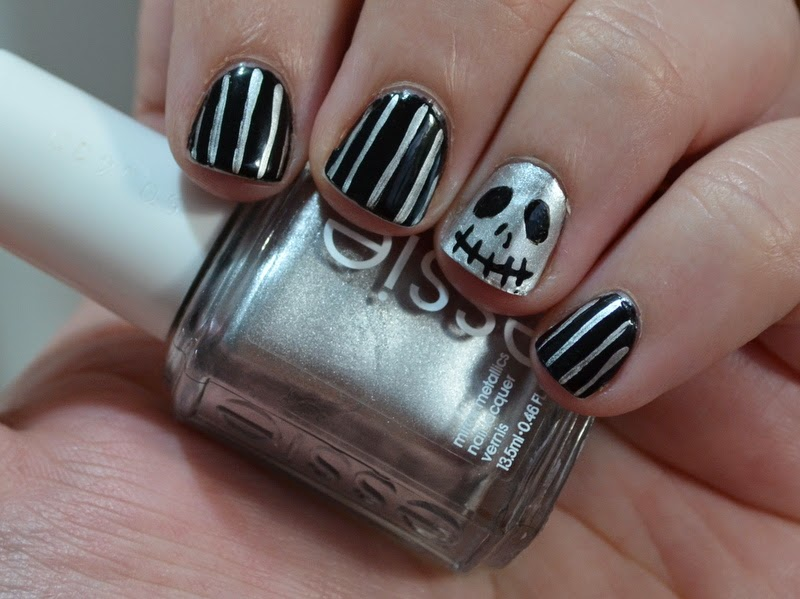 Skulls and Stripes nail art, Halloween Nail Art, black and silver nail art, nail art