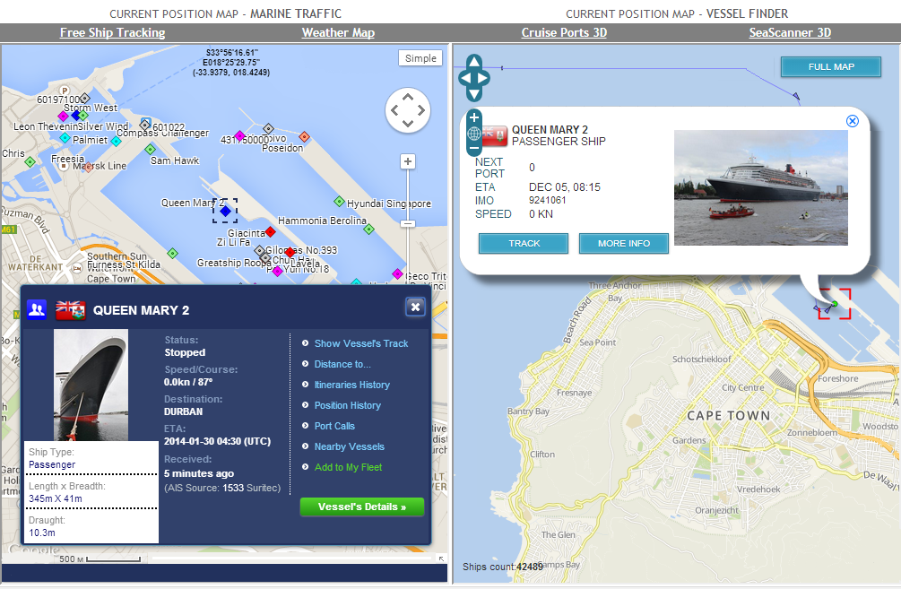 Marine Traffic Vessel Finder Map