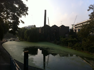 The old Diespeker building from the canal, London N1
