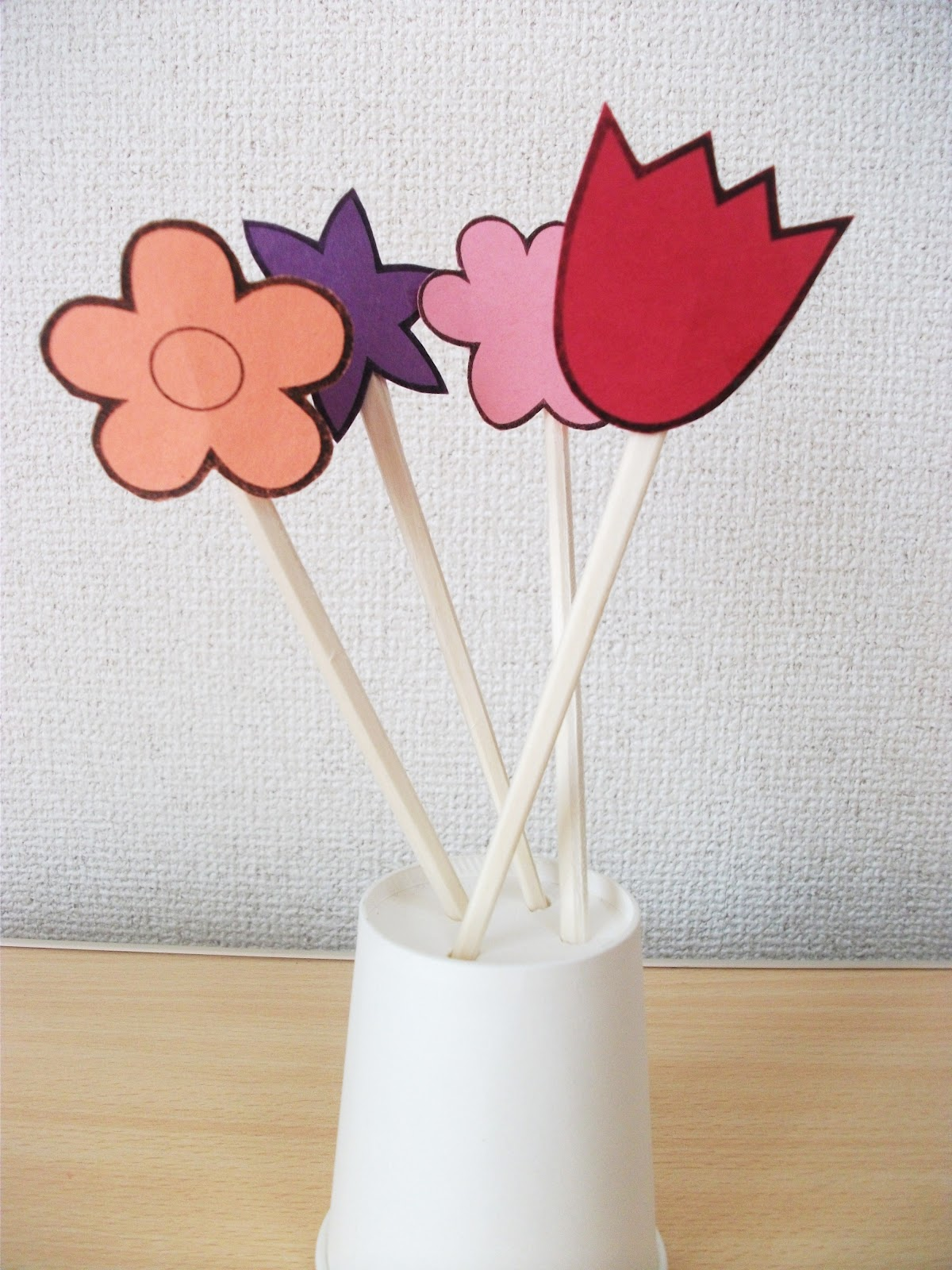 Spring Flowers And Vase Chopsticks Craft Preschool Education For Kids