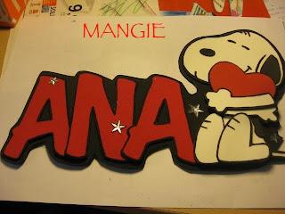 Letrero nombre goma eva Snoopy