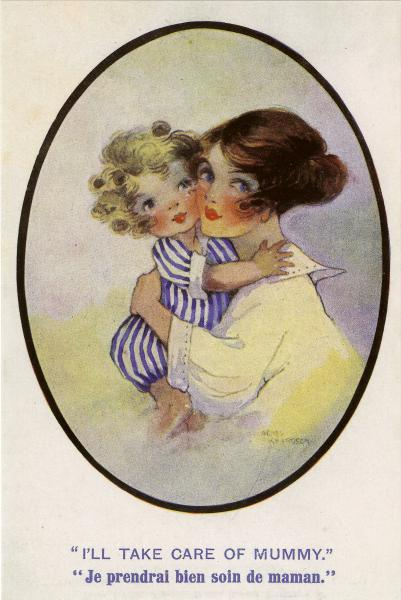 mother holding child, child saying I'll look after mummy or je prendrai bien soin de maman
