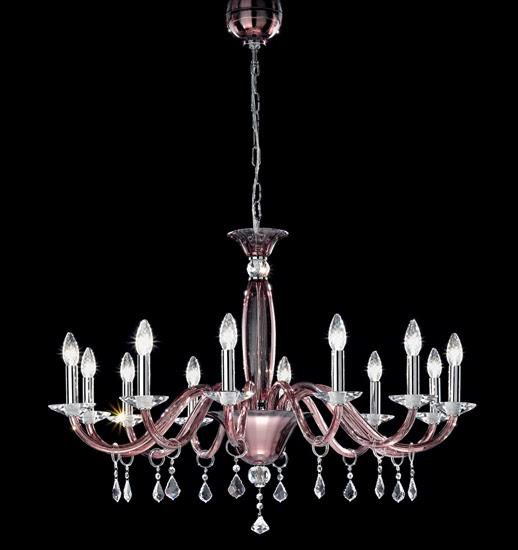 Murano blown glass chandelier in amethyst color