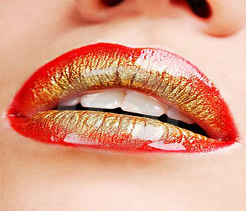 Red Orange Golden Lip Art Makeup