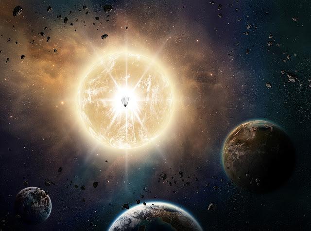 Explosão estelar, explosão planetária, asteroide bate na Terra