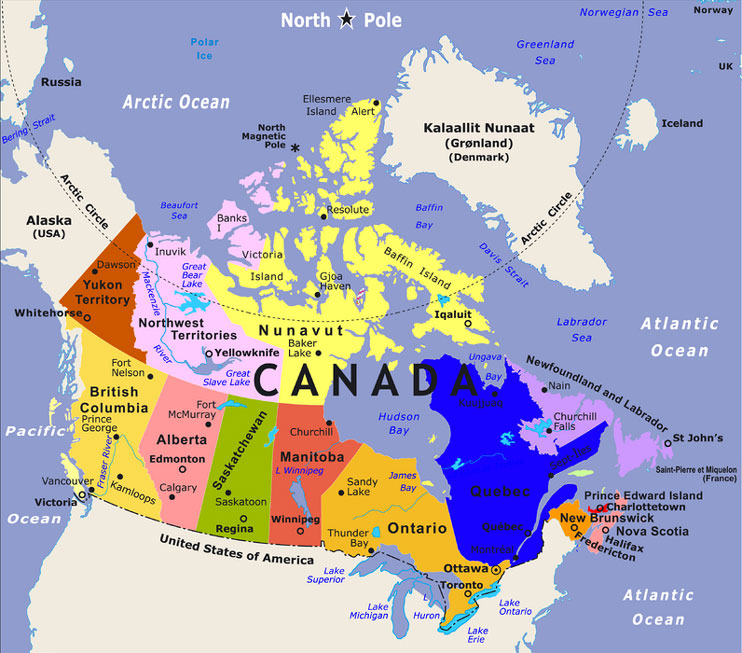 Maps Of Canada Provinces Political And Territories Pictures - Canada map location