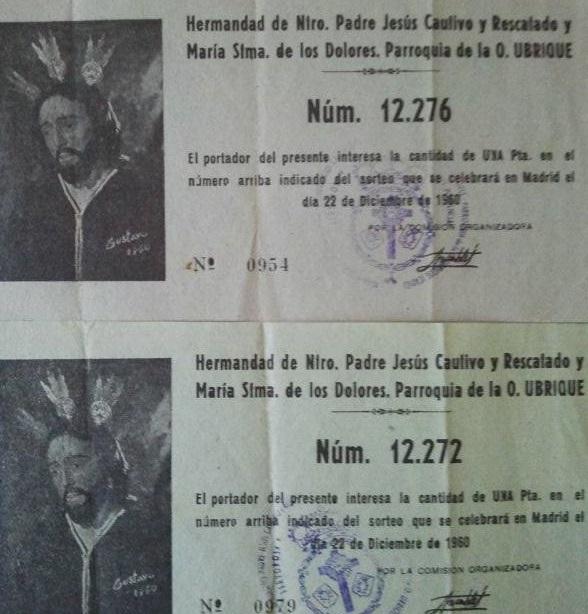 PARTICIPACIONES DE LOTERIA DE LA ANTIGUA HERMANDAD