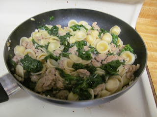 Pasta with Sausage and Kale cooking