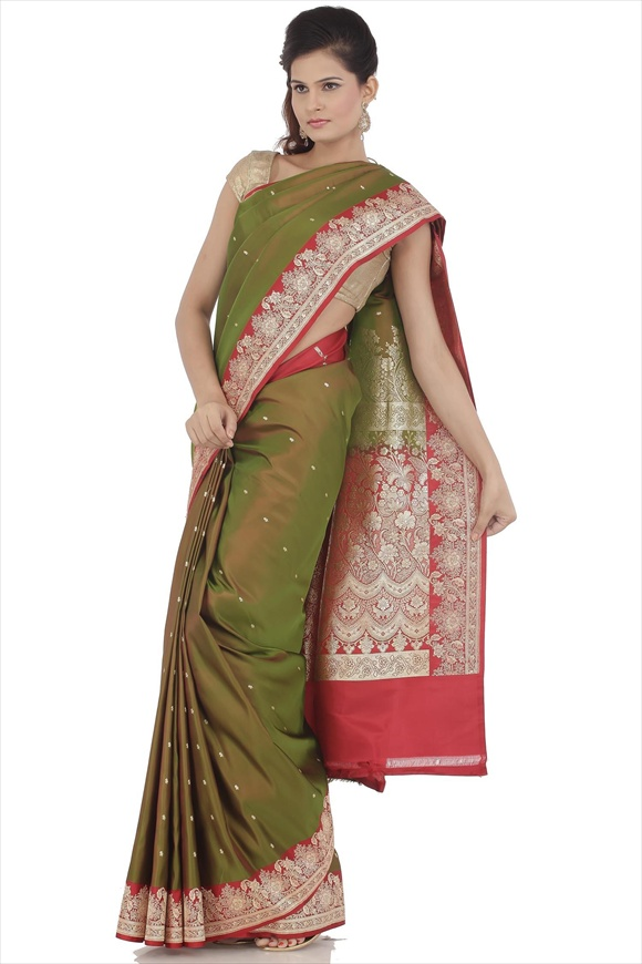 Meadow Green Satin Banarasi Saree
