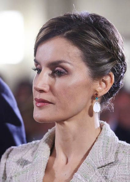 "King Felipe of Spain and Queen Letizia of Spain attended the ""Principe de Viana"" 2015 award ceremony at San Salvador de Leyre (Navarra) Monastery"
