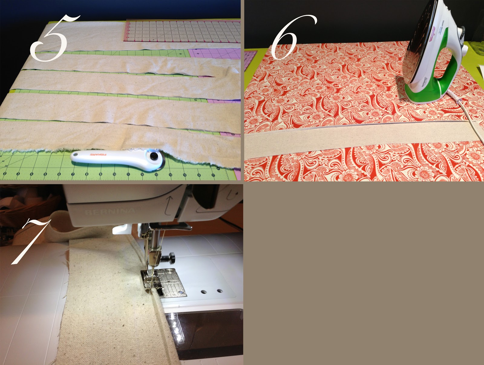 How to make a fabric table cover - If Not Just Lay On Table And Mark And Cut Where There Is A Diagonal 4 Then Lay The Strips Onto The Main Table Cloth With Right Sides Together Pin And Sew