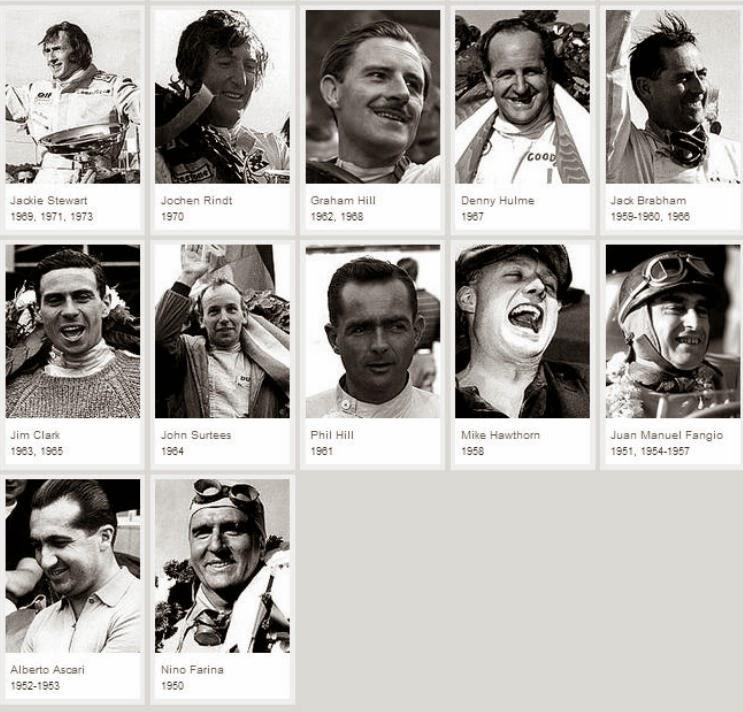 Pilotos f1-Campeones-1950-1973