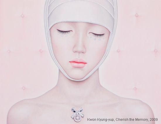 Kwon Kyung-yup pinturas mulheres frágeis machucadas bandagens curativos