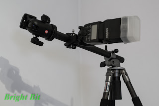 Bicycle Handlebar Mount Holder fixed on a tripod holding a Canon 580EX II Flash in horizontal position
