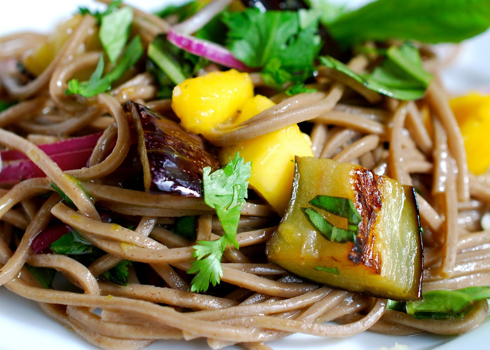 and soba noodles the bitten word soba noodles with eggplant and mango ...