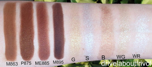 swatch Shu Uemura eyeshadow M863 M 863, P875 P 875, ME885 ME 885, M895 M 895, G Gold, G Silver, G Bronze, G White Gold, G White Rainbow