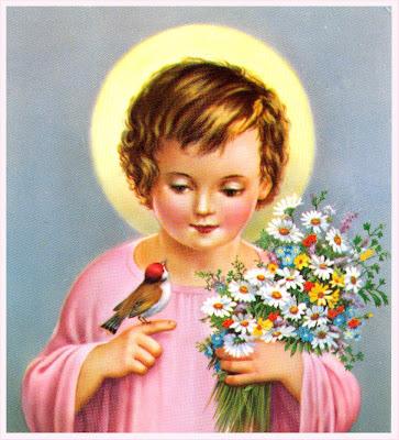 postal retro Niño Jesús