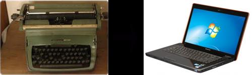 Pengaruh Teknologi Terhadap Kehidupan - Mesin Tik dan Laptop