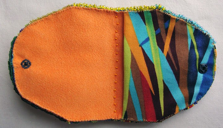 beaded pouch by Becki Applegate, showing pocket inside.