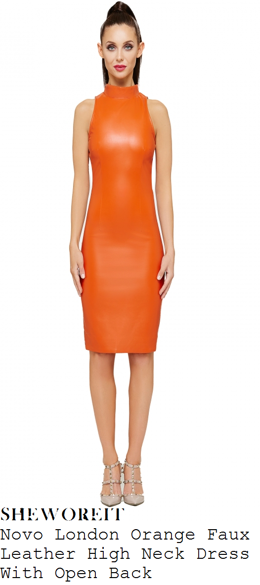 casey-batchelor-bright-orange-high-neck-faux-leather-dress