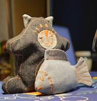 Кот и рыбка из джинса