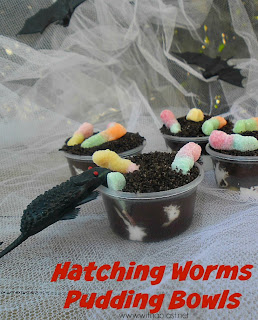 Hatching Worms Pudding Bowls ~ Worms hatching from the Eggs on the bottom, slivering their way up to the top will make a quick, inexpensive treat to your Halloween table ! #Halloween #HalloweenTreats www.WithABlast.net