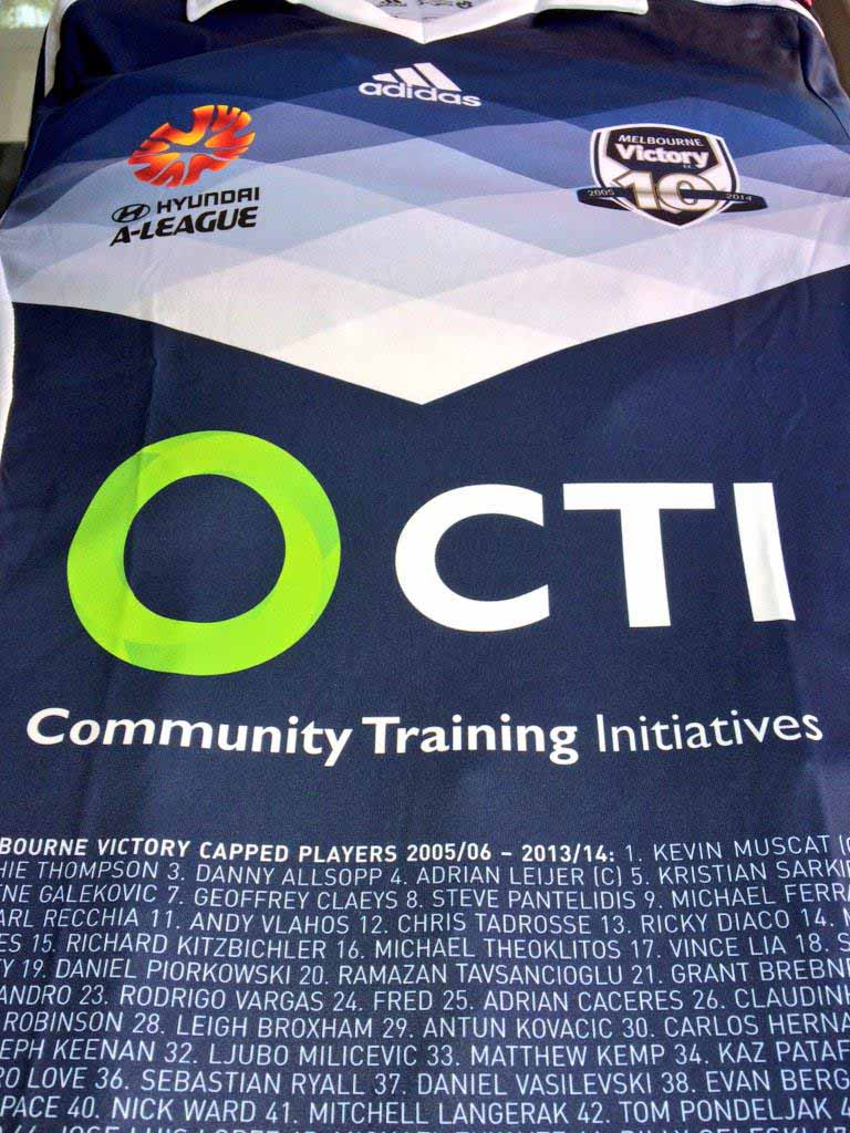 special Melbourne Victory 10th Anniversary crest is placed on the ...