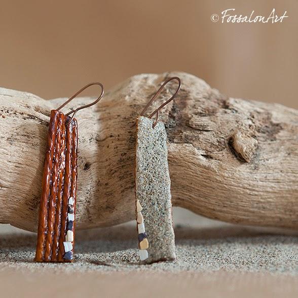 Orecchini in corda, sabbia, gommalacca e frammenti di conchiglie