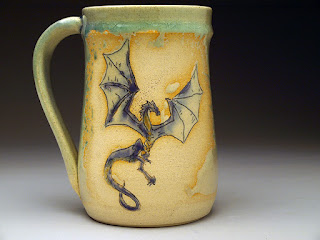 Pottery Dragon Stein by Lori Buff of Future Relics Gallery