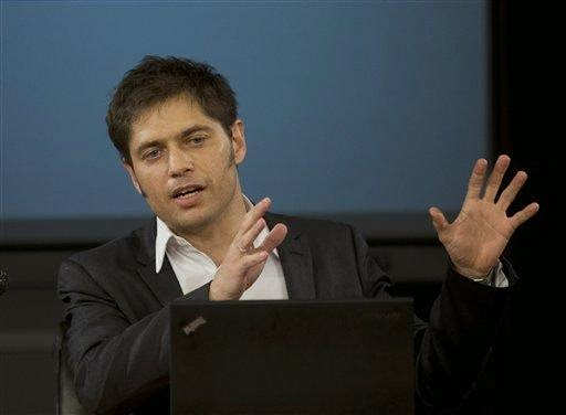 Argentina's Economy MInister Axel Kicillof talks to the media