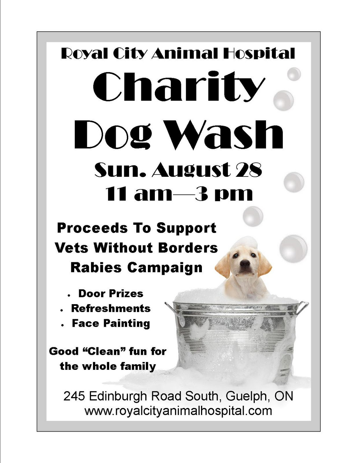 Royal City Animal Hospital: Charity Dog Wash  Lost Dog Flyer Examples