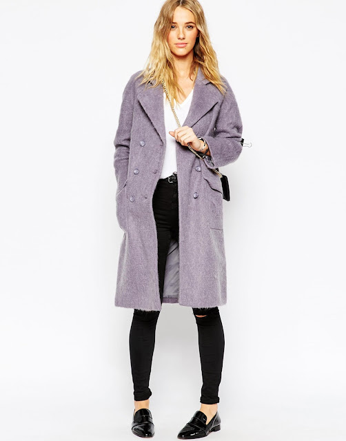 lilac winter coat, lilac wool coat,