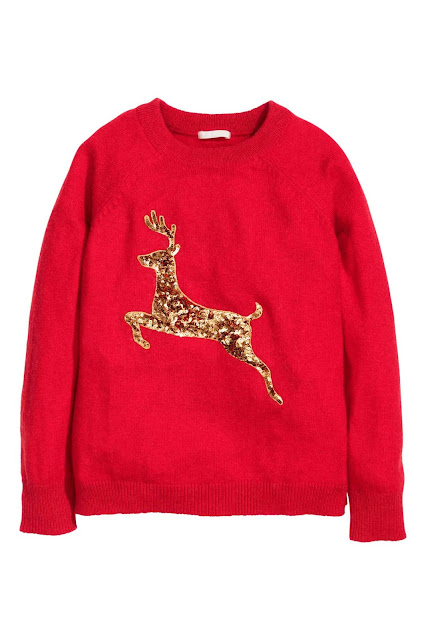 red sequin gold reindeer jumper, gold reindeer jumper,