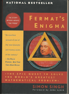Pierre Fermat's face framed in a triangle, inside a circle, framed by text in rectangles