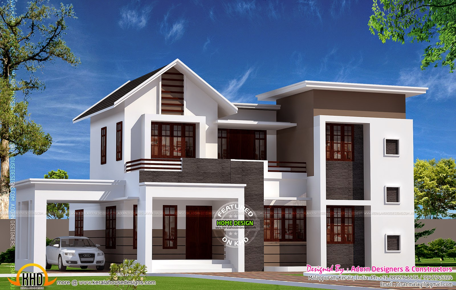New house design in 1900 sq feet kerala home design and for Latest house designs photos