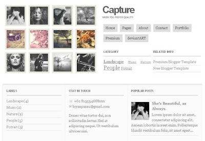 Capture photo blogger template