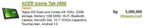 Harga ACER Iconia Tab A500