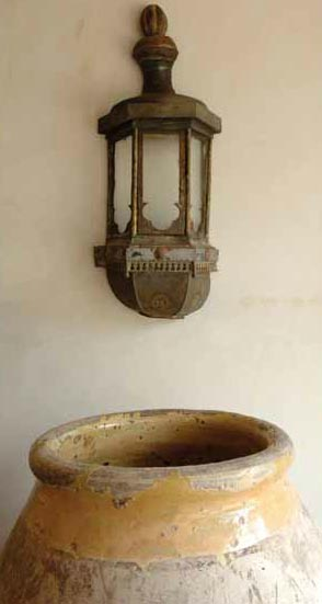 Antique Lantern Wall Sconce via Chateau Domingue as seen on linenandlavender.net